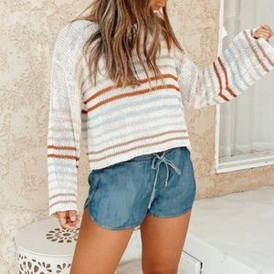 NWT Striped Cropped Sweater